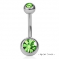 Bella Belly - Chirg. Staal / Platinum (Rhodium) plated - Navel Piercing - Double CZech Crystal - Div. kleuren