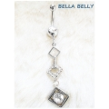 Bella Belly - Chirg. Staal / Navel Piercings Crystal SQUARES - Blank, Licht Blauw, Licht Roze of Rood