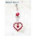 Bella Belly - Chirg. Staal / Navel Piercings Crystal HEART - Rood, Blank, Licht Roze of Licht Blauw