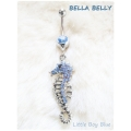 Bella Belly - Chirg. Staal / Navel Piercings Crystal SEAHORSE - Licht Blauw, Rood of Blank