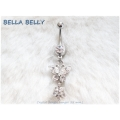 Bella Belly - Chirg. staal - navel piercings crystal BUTTERFLY