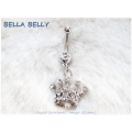 Bella Belly - Chirg. staal - navel piercings crystal CROWN