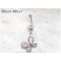 Bella Belly - Chirg. staal - navel piercings crystal OPEN BUTTERFLY