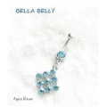 Bella Belly - Chirg. Staal / Navel Piercings Crystal SQUARE - Aqua blauw of Crystal blank