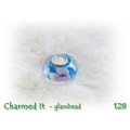 Charmed It Glassbeads - silverplated - Aqua - Roze Wit Bloem
