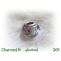 Charmed It Glassbeads - RVS - silverplated - Vintage Roosjes Wit of Blauw