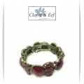 Clayre & Eef - Brede Klem Armband - Antique Brons Look - Rood Tinten - Rond / Round / Bloem