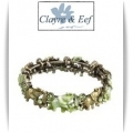 Clayre & Eef - Klem Armband - Antique Brons Look - Licht Groen Tinten - Olifant / Elephant
