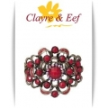 Clayre & Eef - Brede Klem armband - Antique Brons Look - Rood  / Siam Rood AB - Roset