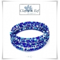 Clayre & Eef Spang armband - Glas Rocailles - 8 Rij - Blauw tinten of Multi colours