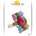 Clayre & Eef - Ring - Rechthoek - Multi color Ruit nr. 16