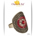Clayre & Eef - Ring - Groot Ovaal divers - Rood / Bronse