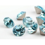 Behave - Swarovski Elements - oorsteker - 6mm - Aquamarine & Montana Blue