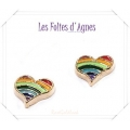 Les Folies d'Agnes - Floating Memory Locket Charms / Bedels +/- 0,8 cm - Regenboog Hart - Rosé Goud Look Metal