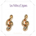 Les Folies d'Agnes - Floating Memory Locket Charms / Bedels +/- 0,8 cm - Muzieksleutel met crystal - Rosé Goud Look Metal