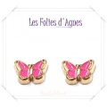 Les Folies d'Agnes - Floating Memory Locket Charms / Bedels +/- 0,8 cm - Vlinder Roze - Rosé Goud Look Metal