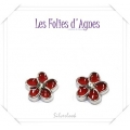 Les Folies d'Agnes - Floating Memory Locket Charms / Bedels +/- 0,8 cm - Bloemetje Rood met crystal - Zilver Look Metal