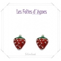 Les Folies d'Agnes - Floating Memory Locket Charms / Bedels +/- 0,8 cm - Aardbei - Zilver Look Metal