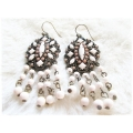 BIBI & LOVE bijoux - Oorhangers Ivory beads Old Brons Style