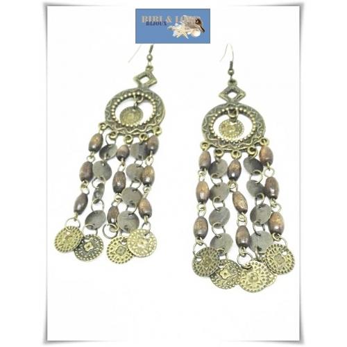 Bibi Love Bijoux Boho Lange Oorhangers Metal Beads Coins