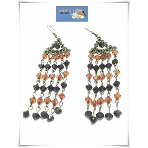 Bibi Love Bijoux Boho Lange Oorhangers Metal Beads Amber