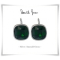 David Grau - verguld of Gerhodineerde Classic Oorhangers - Swarovski elements - Emerald Green