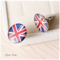 The Anthem Jewellery - GB Vlag Oorstekers - Rond - Zilverkleurig - Union Jack - 1,5 cm