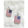 The Anthem jewellery - Vlag oorhangers - Rechthoek - zilverkleurig - Stars and Stripes