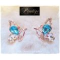 Prestige / France - 18k. Rosé Gold-Plated Oorstekers - Butterfly / Vlinder - Swarovski elements