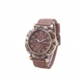 Carsidun Watches - Jeans Stof - Bronze Numbers