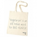 Huus By SEQ - Katoenen Tas / Shopper Met Tekst - 'Vegetarian' is an old Indian word for BAD HUNTER