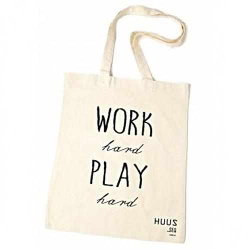 38099d979b9 Huus by SEQ - Katoenen tas / shopper met tekst - Work hard Play hard