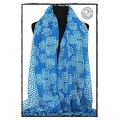 MB - Ornament Flower - Foulards à la Mode / Dames Shawls - Blauw of L.Bruin