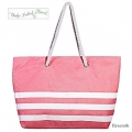 Boho Tribal Floral - Stro Strandtas / Shopper - BIG STRIPES - Hyacinth / Sand Beige / Pink