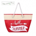 Boho Tribal Floral - Stro Strandtas / Shopper - HELLO SUMMER - Rood Wit of Licht Roze Wit