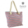 Dutch Spirit - Katoen / Linnen Shopper / Strandtas - Stripes - Rood / Wit / Blauw
