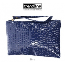 Trendline - Clutch - Make Up tasje - Toilettas - Lak Krakelee - Roomwit of KoningsBlauw