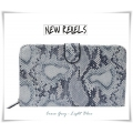 New Rebels - Hippe Grote Portemonnee / Etui - Croco leder look - 21 x 11 x 3,5 cm - L. Blue of L. Rose