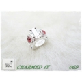 Charmed It Beads - Driehoek Rond met crystal (diverse kleuren) #069