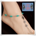 From BIBI With Love - Barefoot Sandals - Gerhodineerde Voetsieraad - Turquoise (kleurig) beads / Open Bloemen