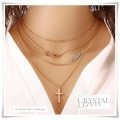 Le Goût Des Couleurs - Infinity - Cross - Crystal Beads - Mulltilayer Ketting (4 rij) - Gold Plated - 42 / 48 cm